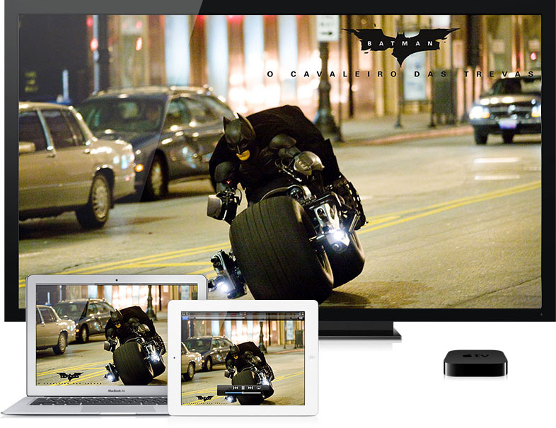 Filme rodando em MacBook Air, iPad e Apple TV