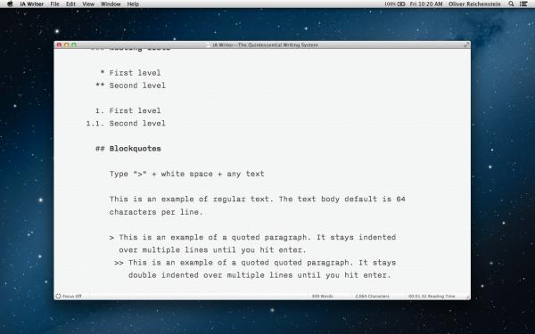 iA Writer para OS X