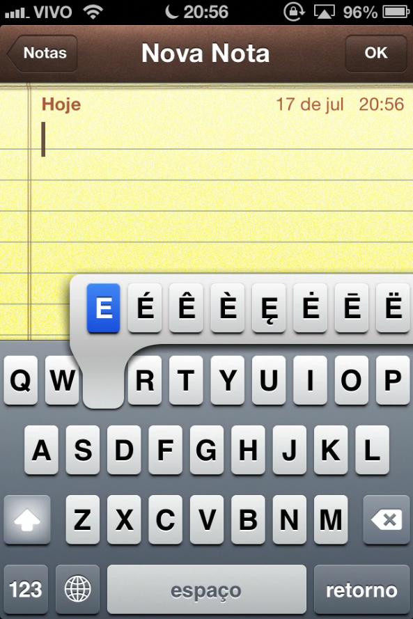Teclado do iOS 6