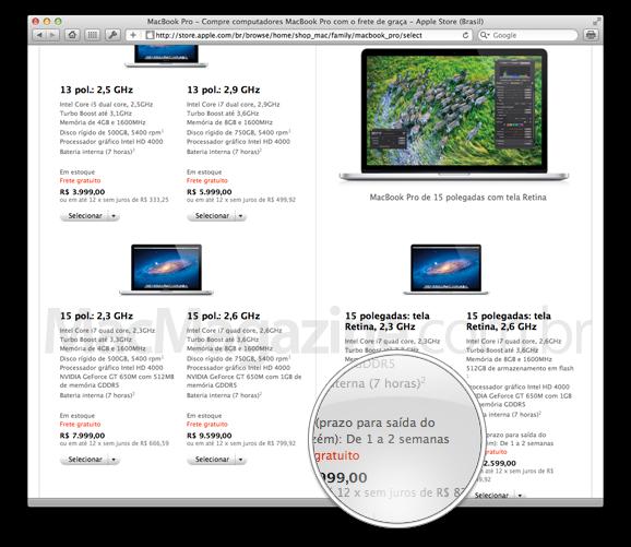 Prazo de entrega de MacBooks Pro com tela Retina