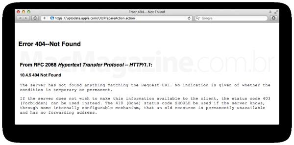 Erro do Formulário do Programa de Atualização do OS X Mountain Lion