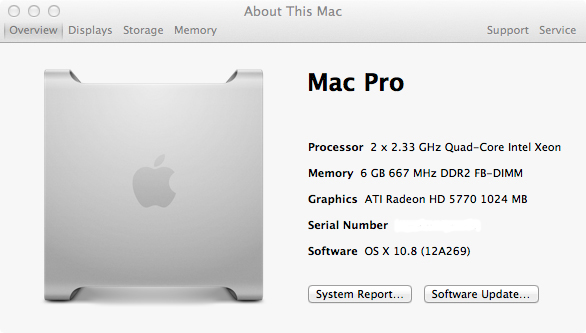 MacPro1,1 com o OS X Mountain Lion