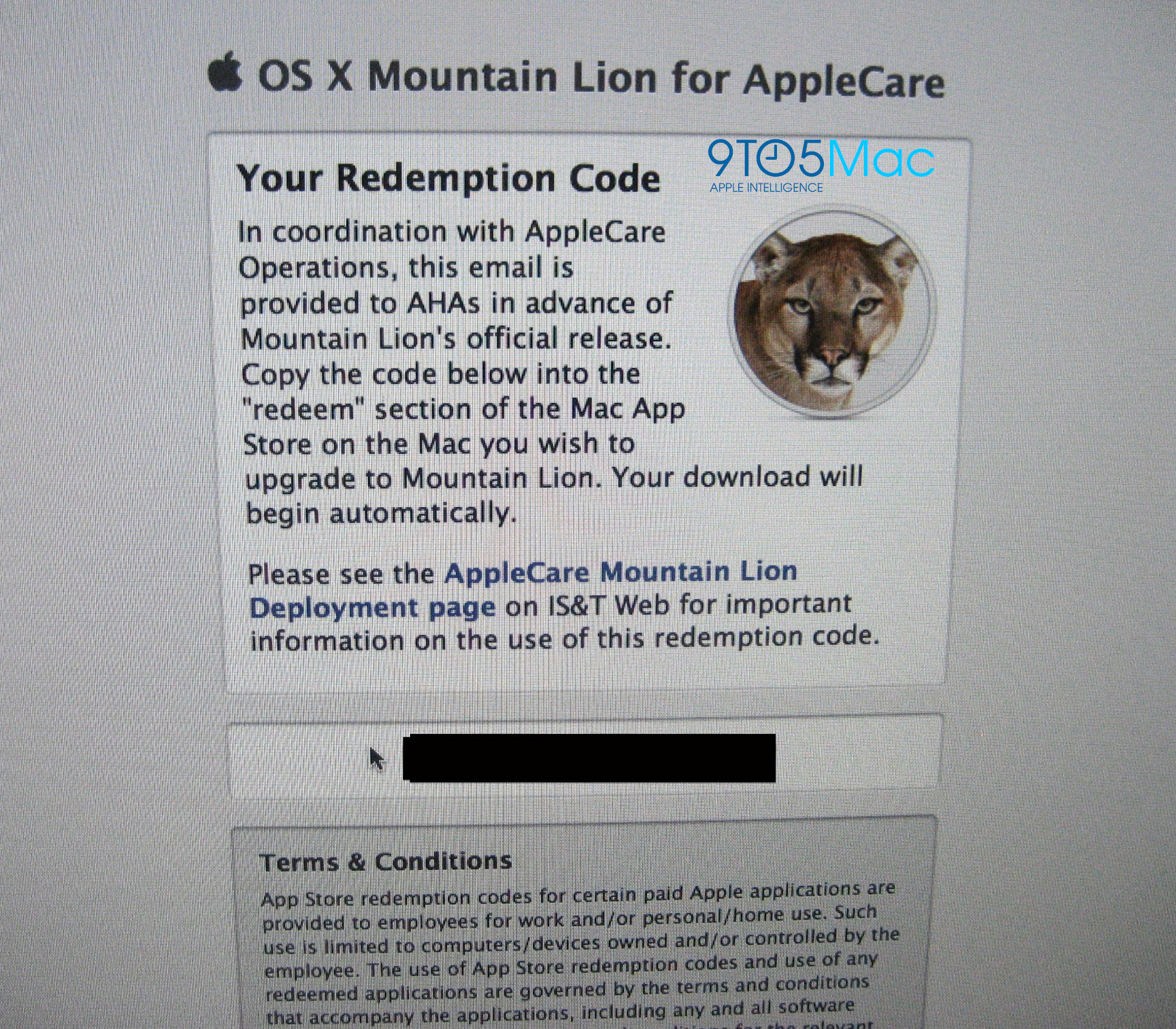 OS X Mountain Lion para AppleCare
