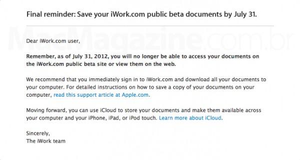 iWork.com beta sendo encerrado