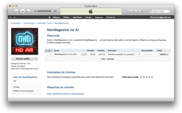 MacMagazine no ar na área de podcasts na iTunes Store