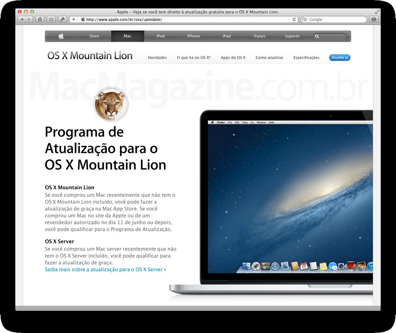 Formulário do Programa de Atualização para o OS X Mountain Lion