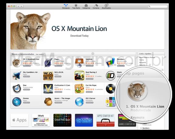 OS X Mountain Lion no topo dos pagos