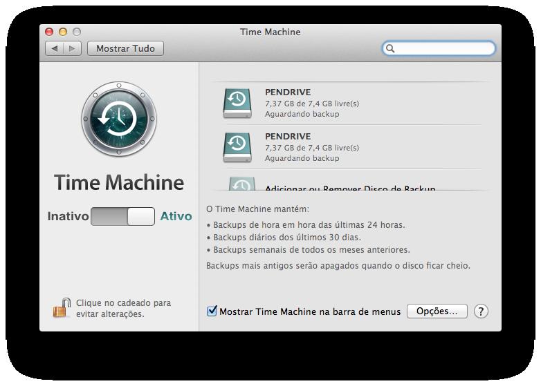 Backup em multiplos discos no Time Machine