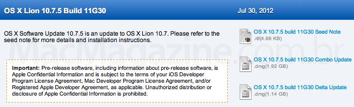Novo build do Lion 10.7.5