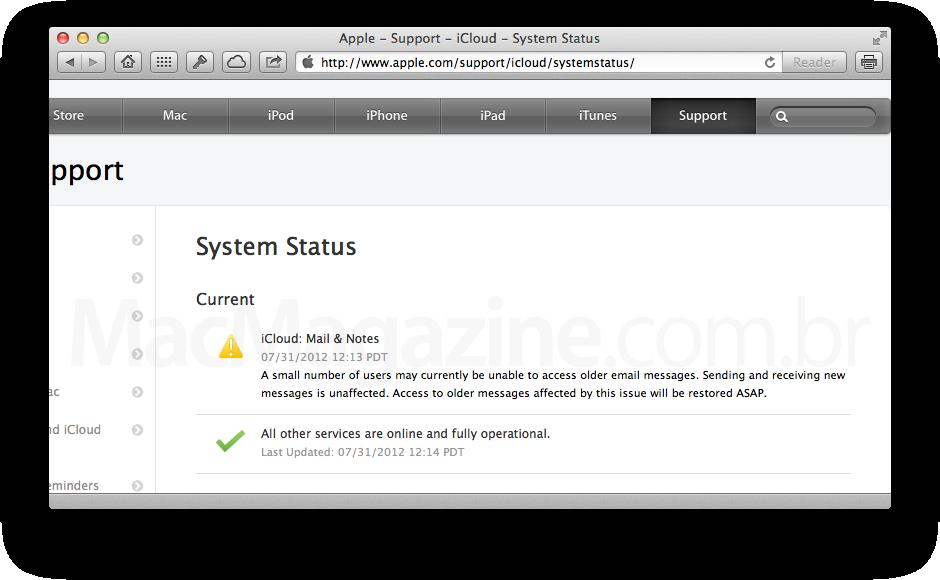 iCloud com problemas em emails antigos