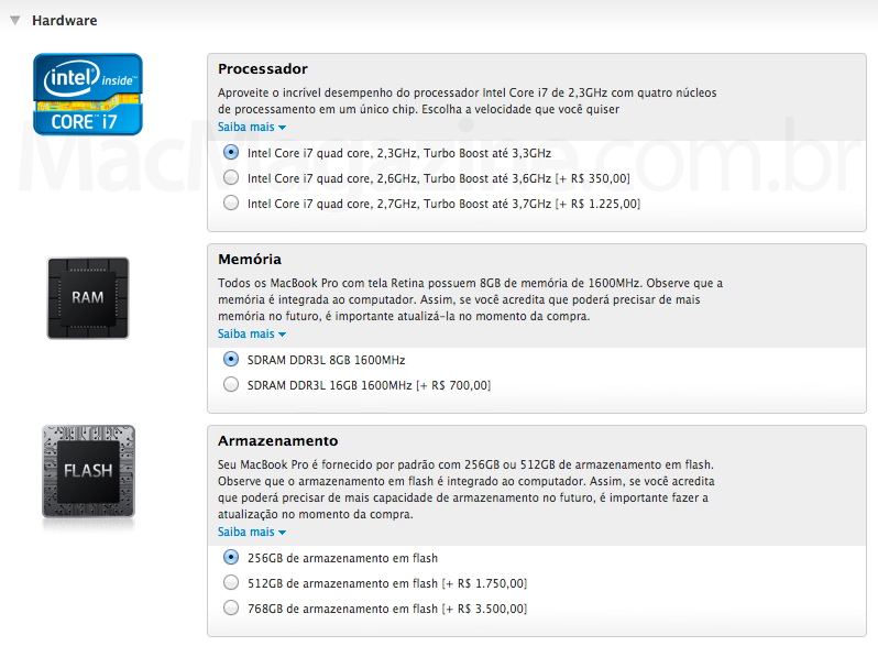 Novas configurações do MacBook Pro Retina