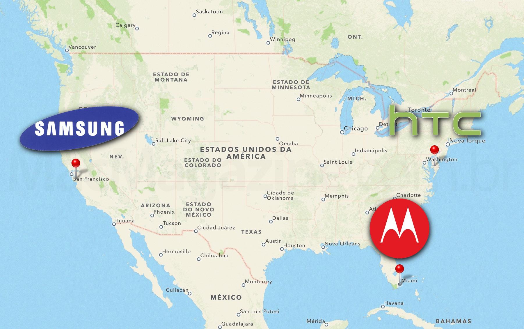 Mapa de julgamentos - Samsung, HTC e Motorola