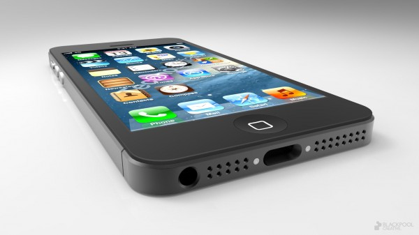 Mockup do novo iPhone visto de baixo