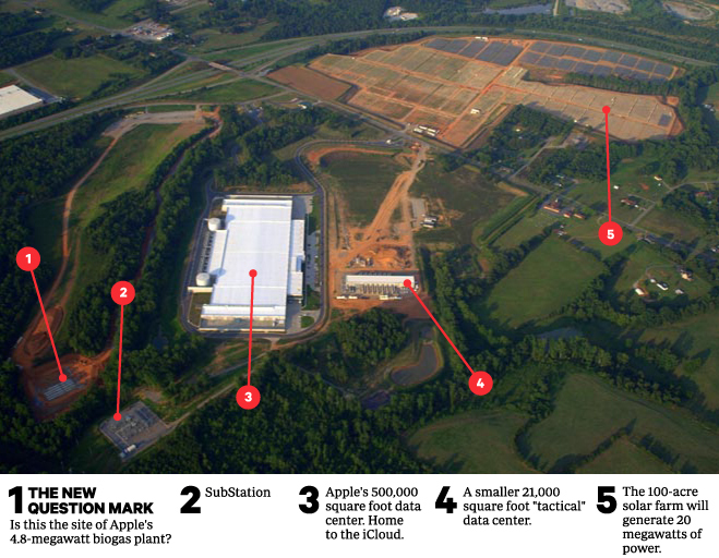 Vista área do data center da Apple em Maiden