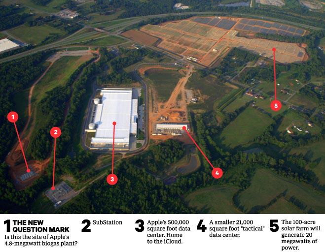 Vista área do data center da Apple em Maiden