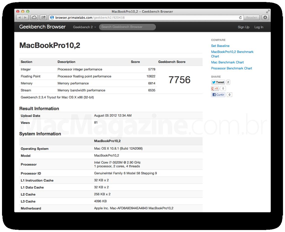 Benchmark de um suposto MacBook Pro tela Retina de 13 polegadas