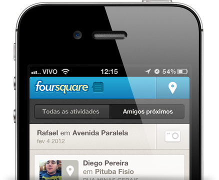 Amigos próximos do foursquare no iPhone