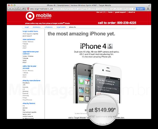 Preço do iPhone no site da Target