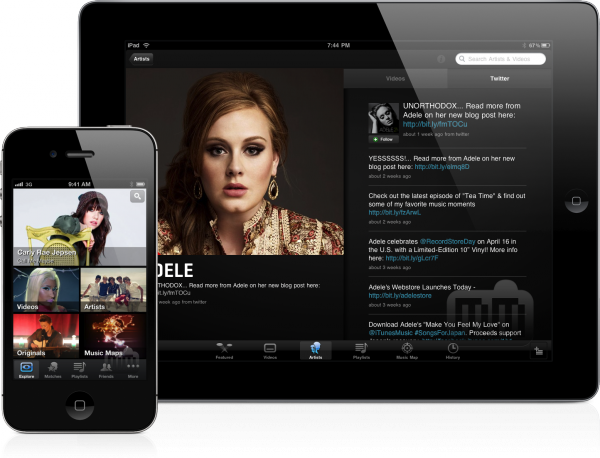 Apps do VEVO rodando em iPad e iPhone