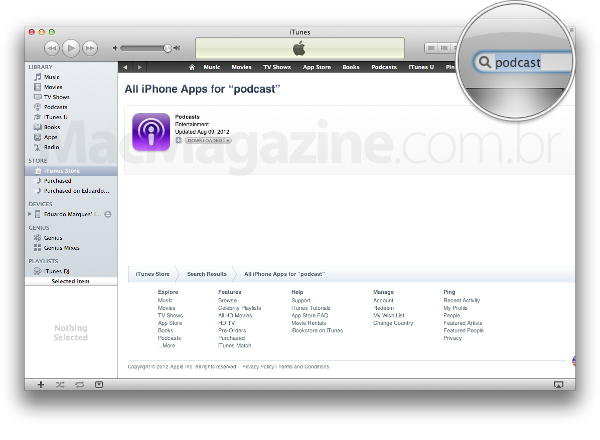 "Buscando por ""podcasts"" no iTunes"