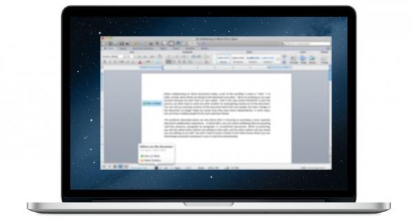 MacBook Pro com tela Retina rodando o Office 2011