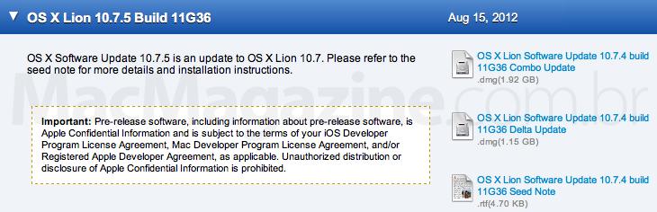 Terceiro beta do OS X 10.7.5