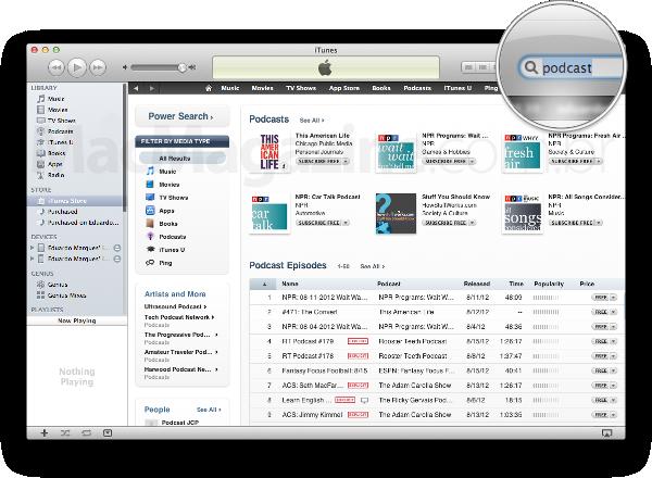 "Buscando por ""podcast"" no iTunes"