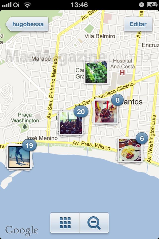 Recurso Mapa de Fotos, do Instagram