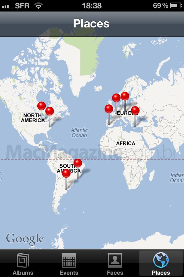 Mapa de fotos do app nativo do iOS
