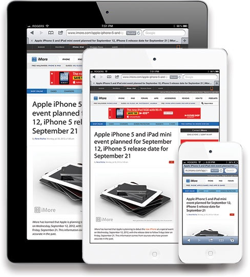 iPad, iPad mini e iPhone (mockup por iMore.com)