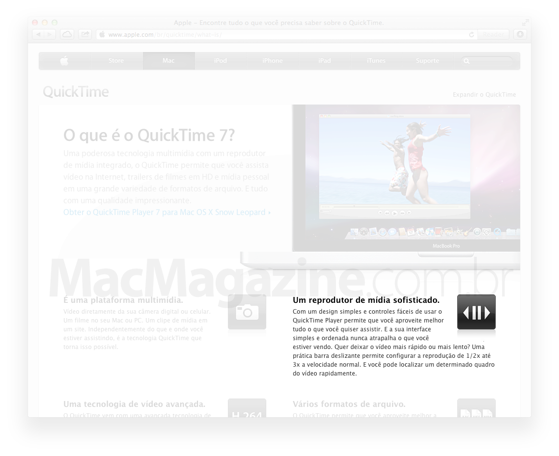 Página do QuickTime