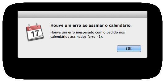 Erro -1 nos calendários da Apple