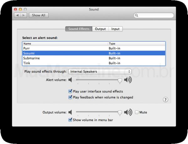 Preferências de som do Mac