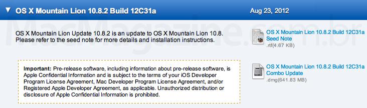 Beta do OS X 10.8.2