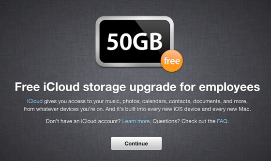 iCloud com 50GB para empregados