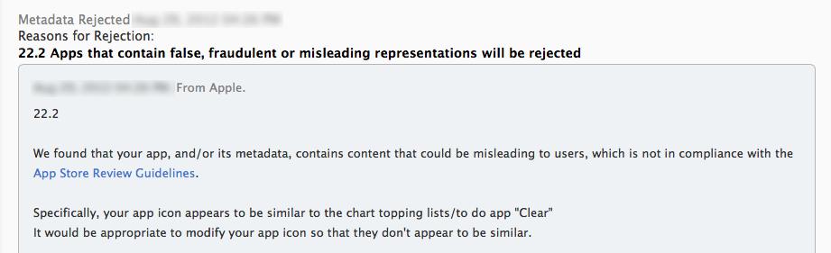 Email do time de aprovação da App Store