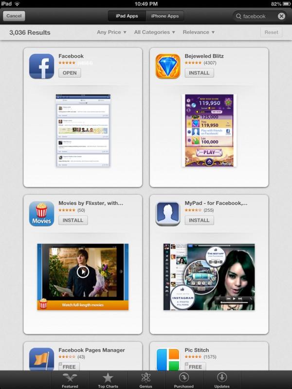 Busca na App Store - iPad