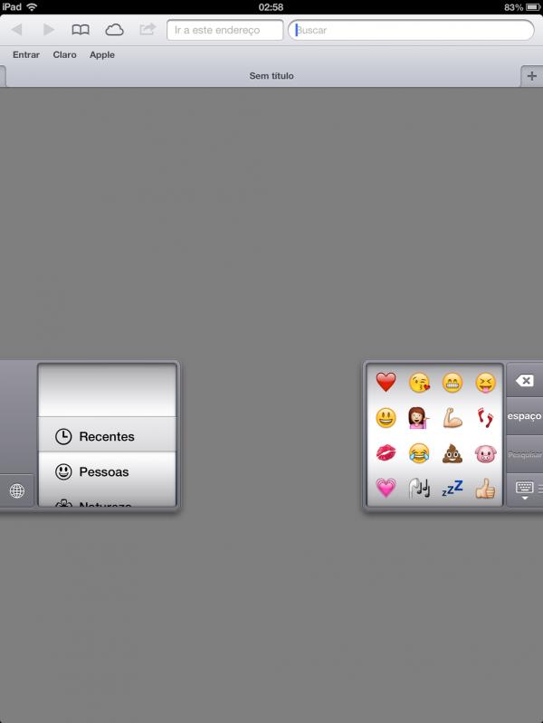 Emoji em teclado separado do iPad