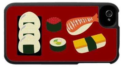 iPhone com case japonesa (sushi)