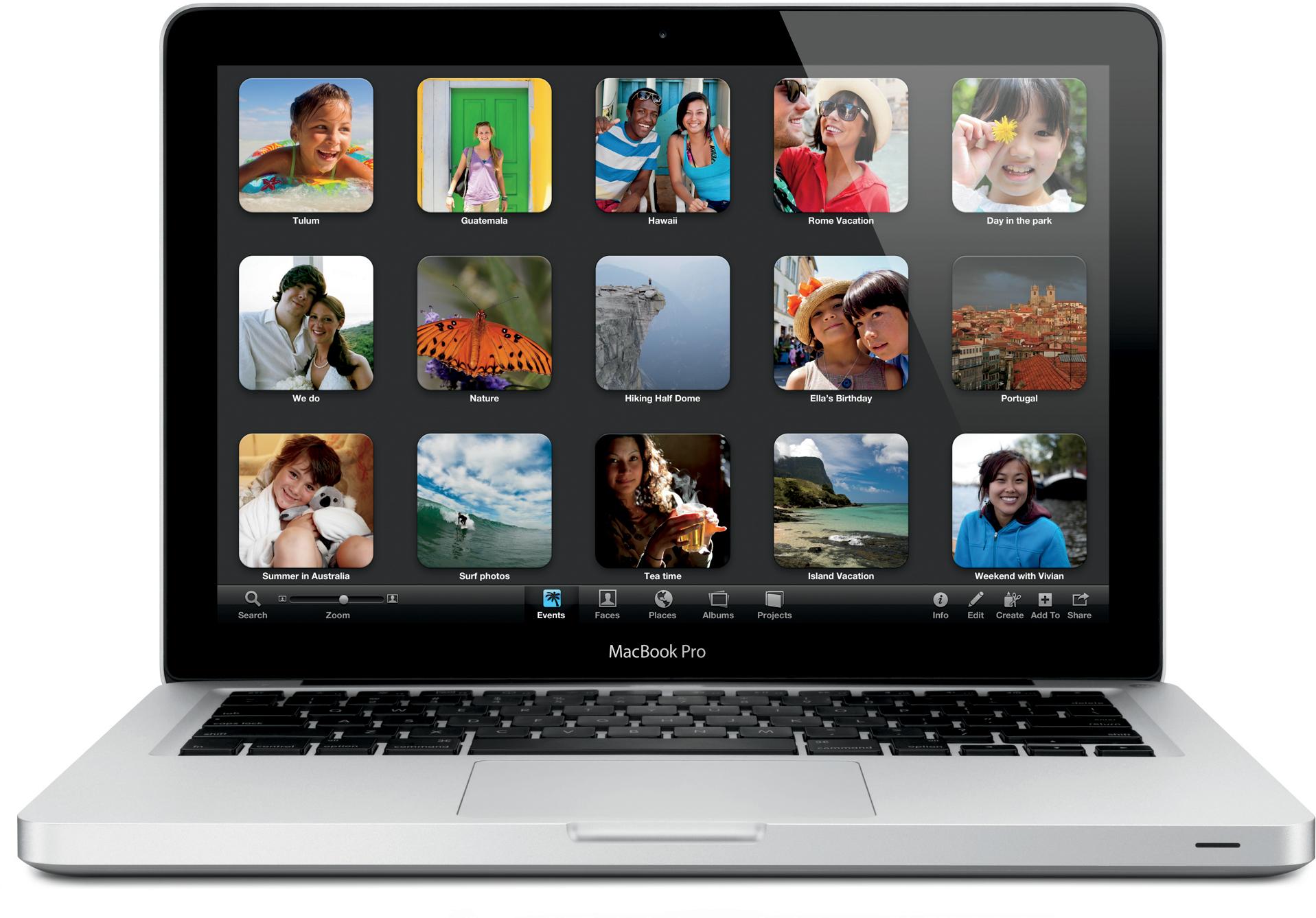 Apple - MacBook Pro de frente com iPhoto