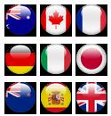 Bandeiras de nove países