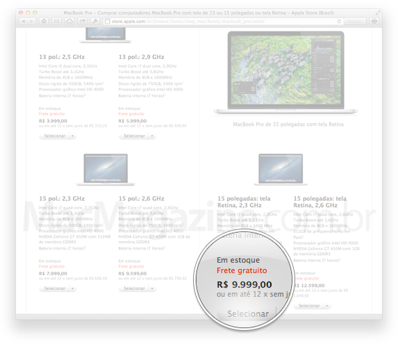 MacBook Pro Retina em estoque