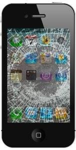 iPhone com vidro quebrado