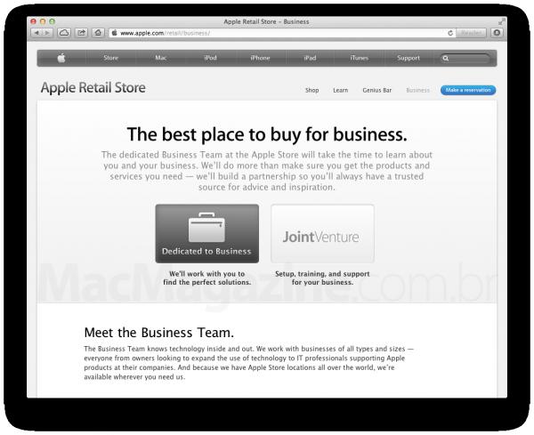 Página de serviço para empresas oferecidos pela Apple