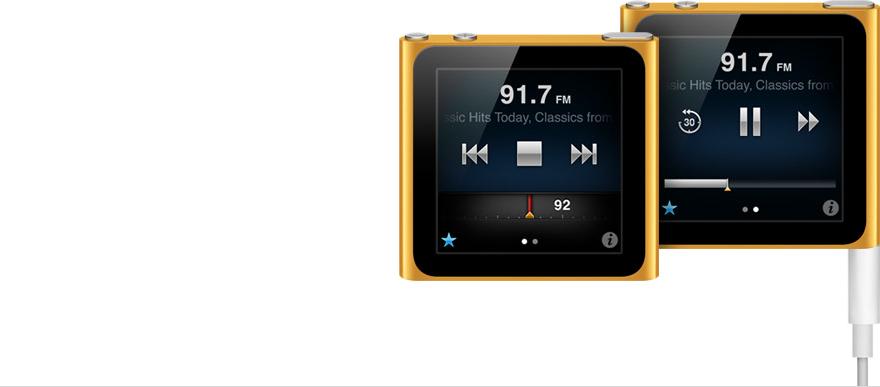 Recurso rádio do iPod nano