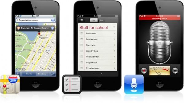 Mapas, Lembretes e Gravador no iPod touch