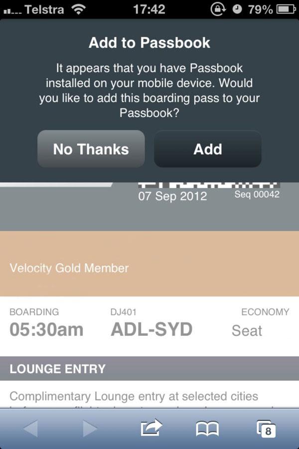 Passbook funcionando com companhia aérea