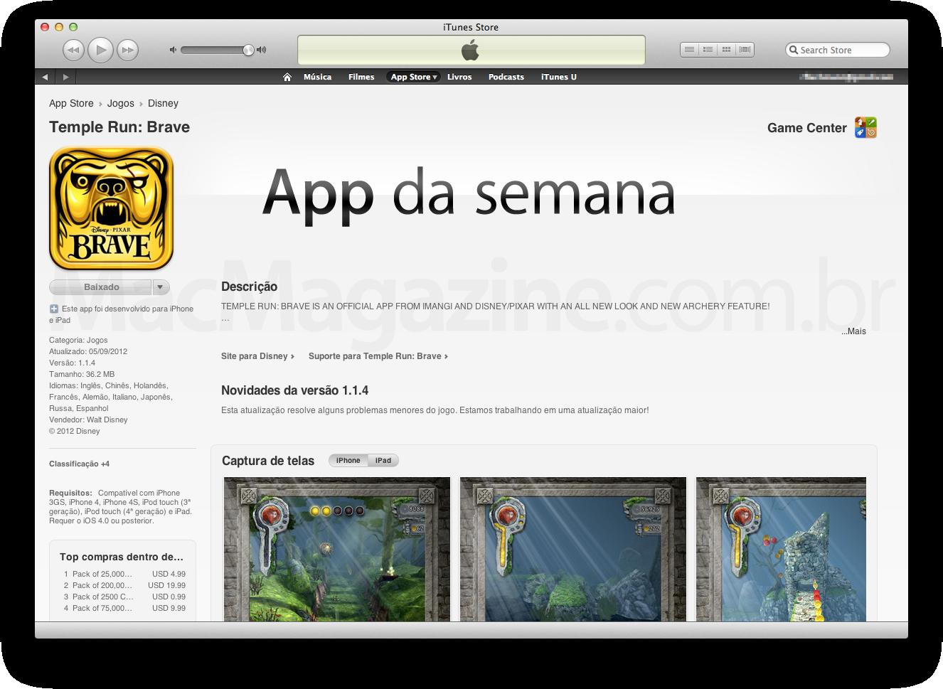 Temple Run: Brave como App da Semana