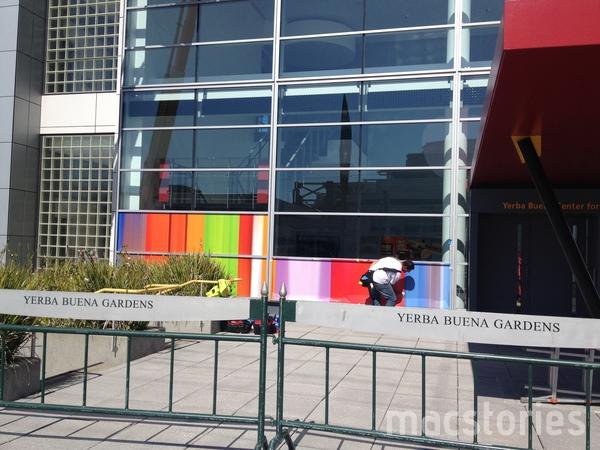 Yerba Buena Center sendo preparado pro evento da Apple