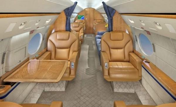 Interior do jato Gulfstream